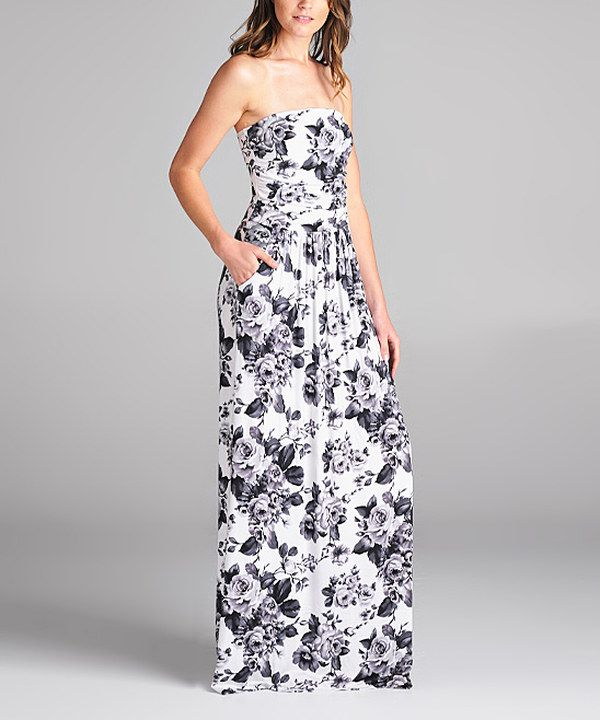 f3b4e0efb18 Look at this Black   White Strapless Maxi Dress on  zulily today ...