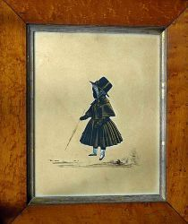 enry Albert Frith, 1849 A child wearing dress, gloves and bonnet holding a parasol cut-out on card, bronzed and heightened with Chinese white, watercolour background, signed on the obverse and dated 1849    Dimensions: in maple wood frame 8 9/16 inches high