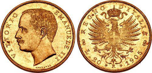ITALY, Regno d'Italia. Vittorio Emanuele III. 1900-1946. AV 20 Lire (21mm, 6.46 g, 6h). Rome mint. Dated 1905-R.