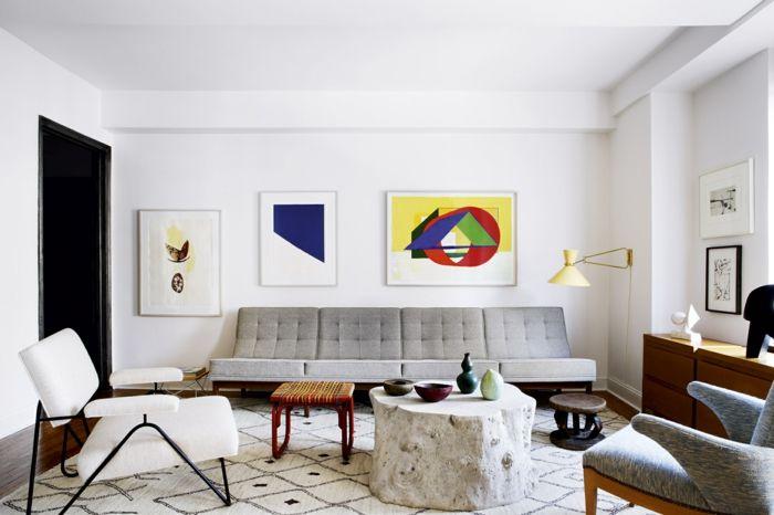 kleines wohnzimmer einrichten retro möbel geometrische muster ...