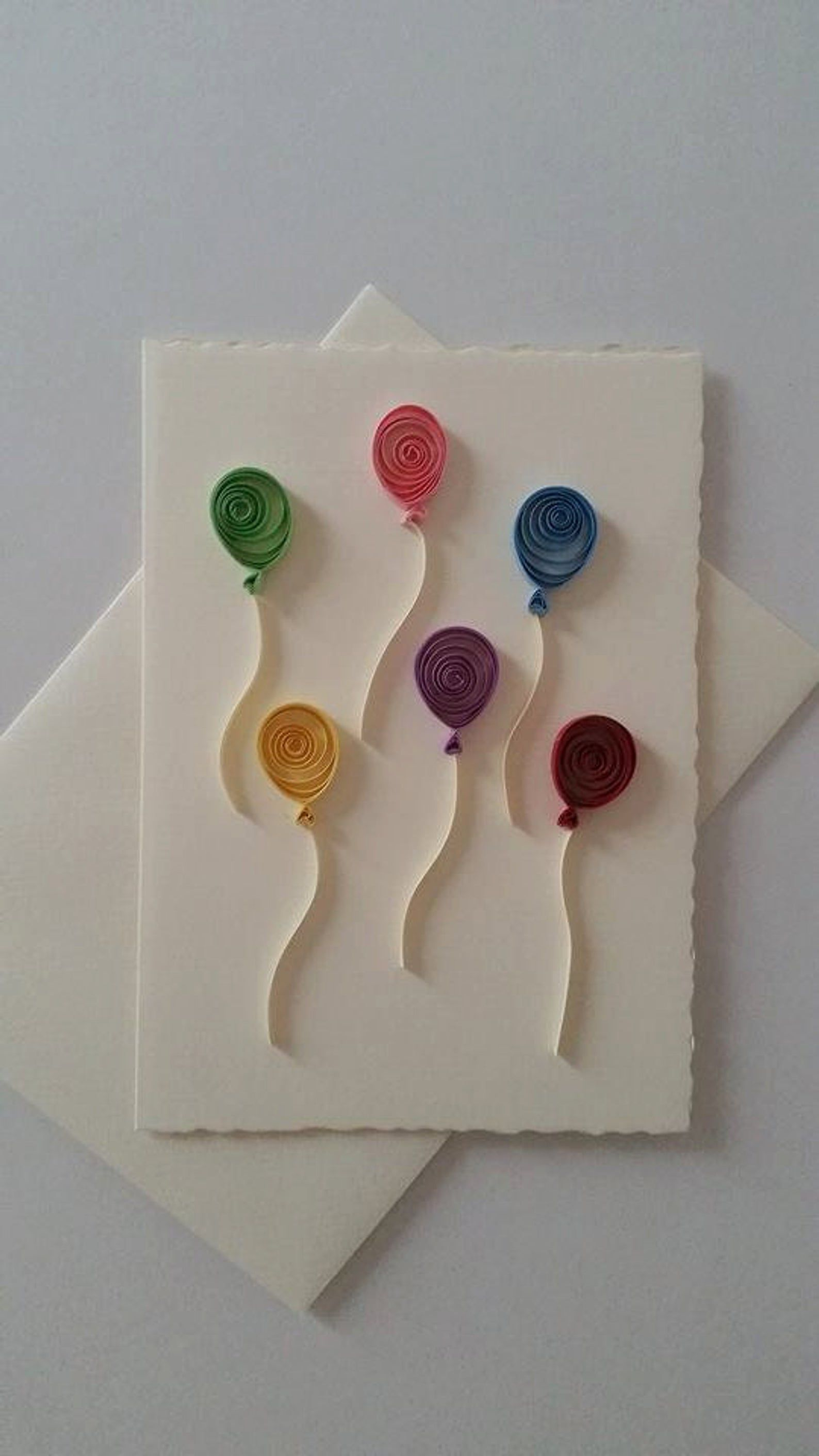 Quilled Card, Paper Card, Quilled balloon, Quilled