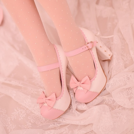 Dolly Pastel Bow Strap High-Heeled Shoes
