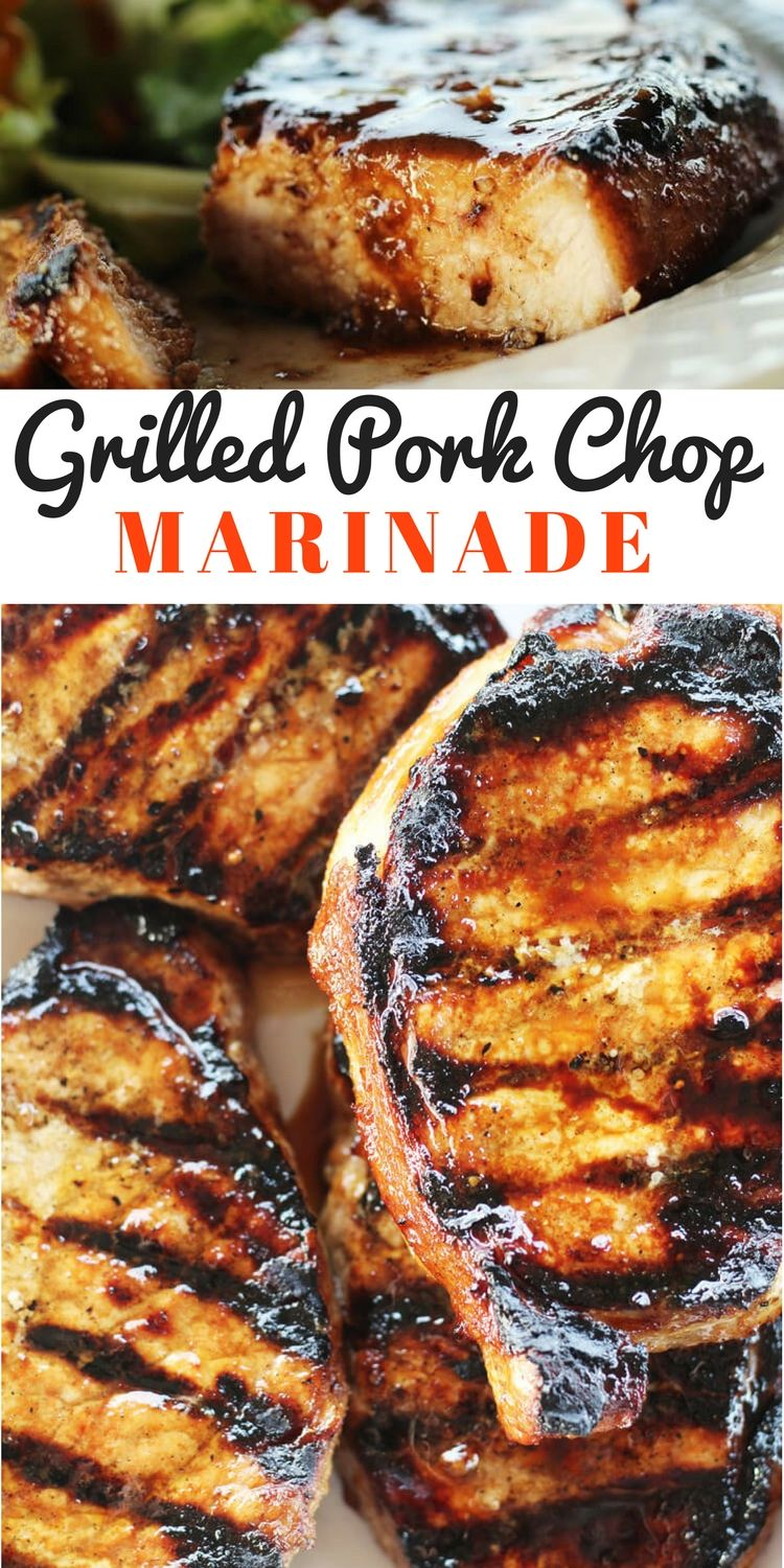 You are going to love our easy recipe for this Grilled Pork Chop Marinade. This marinade flavors every single bite of juicy, grilled pork. A little smoky, a little sweet, and a lot delicious, this is an all-around great marinade you will want to use again and again.  #porkchopmarinade #marinaderecipe #grilledporkchops