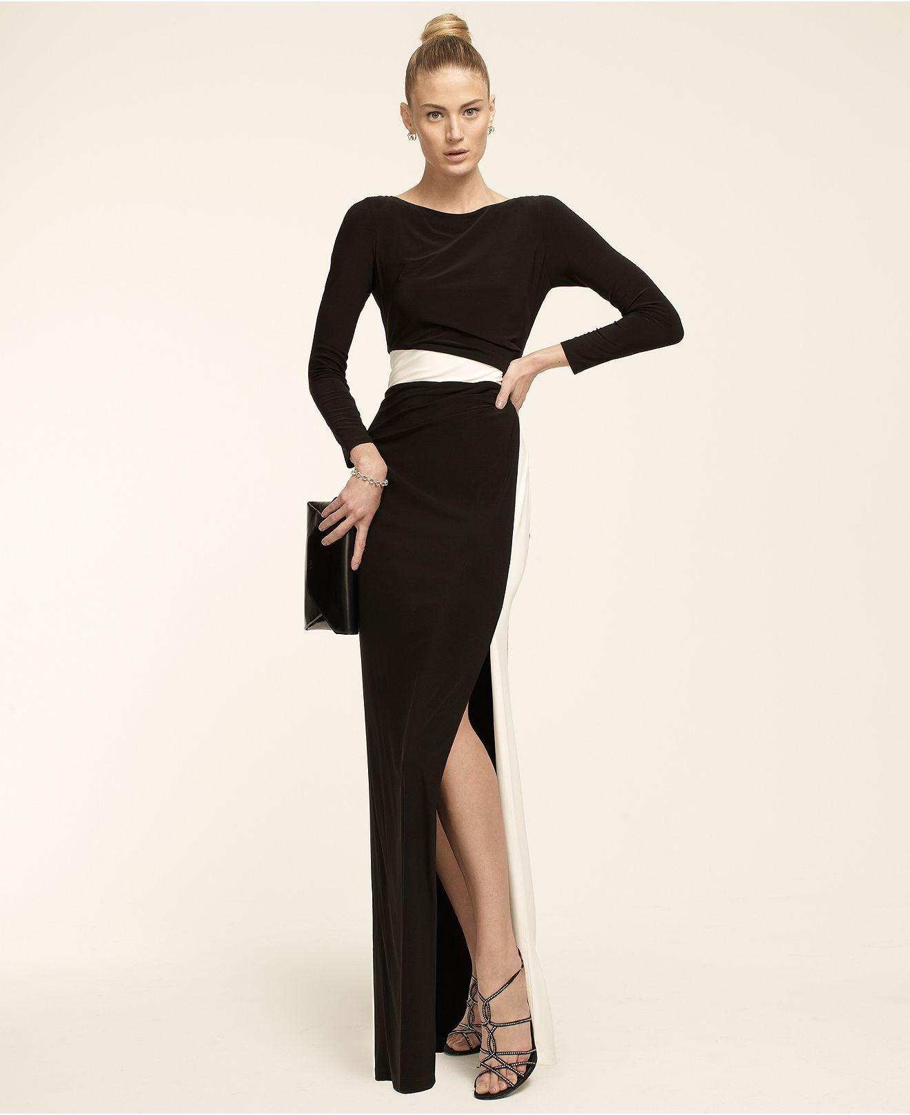 3003b98188dcd Lauren Ralph Lauren Long-Sleeve Colorblocked Gown - Dresses - Women - Macy's  | Dresses & Fashion | Pinterest | Ralph lauren long sleeve, Gowns and Woman