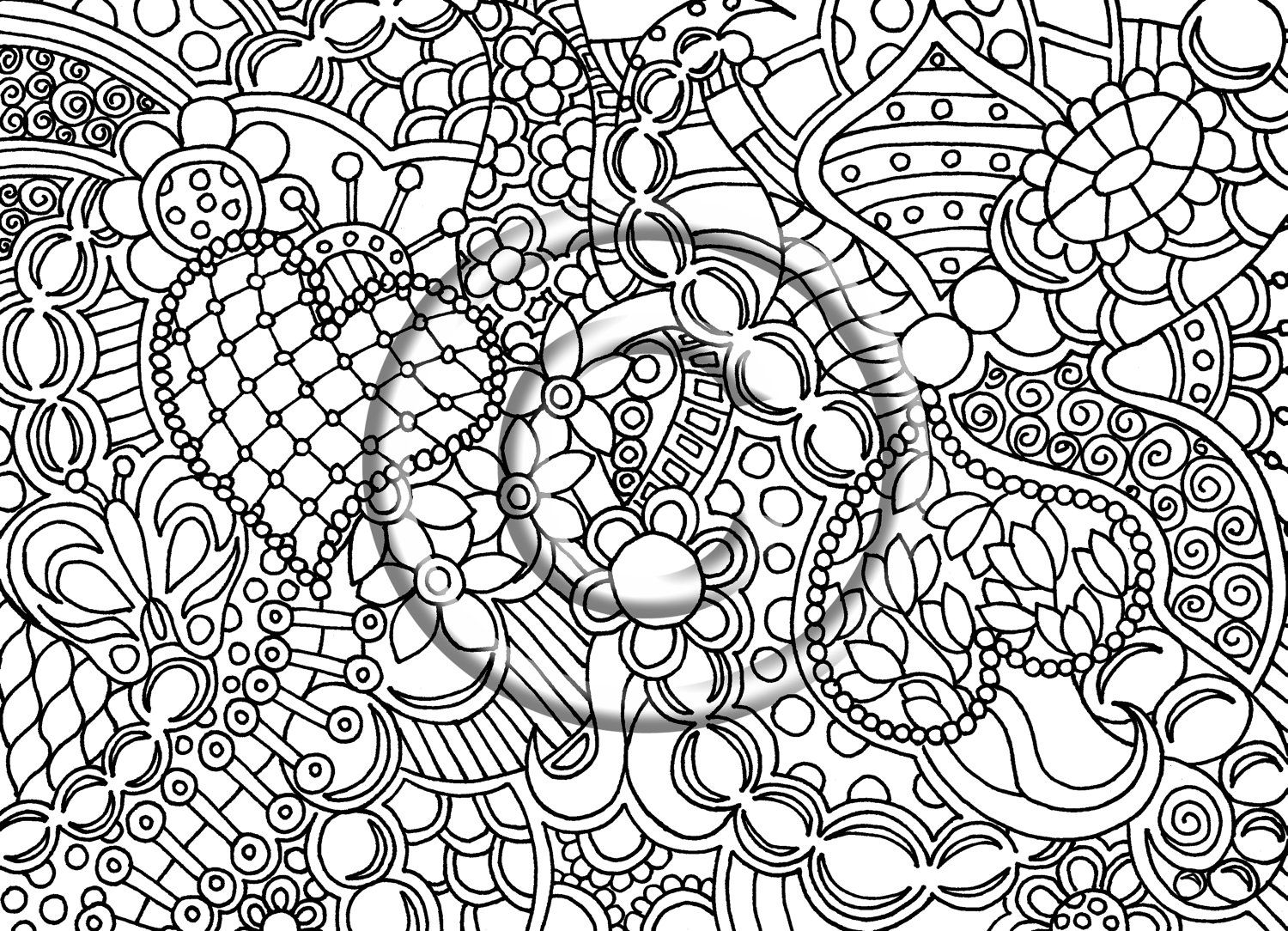 Printable Download Coloring Page, Hand Drawn Zentangle