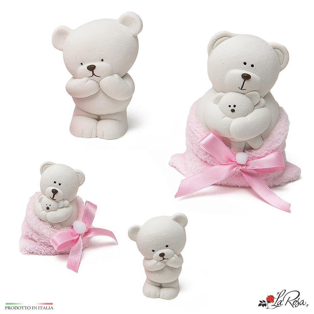 Bomboniere Per Battesimo E Nascita Bimba Simpatici Orsetti In Ceramica Bianca Con Sacchetto Il Peluche Rosa Morbidissimo Scegli Bomboniere Peluche Battesimo