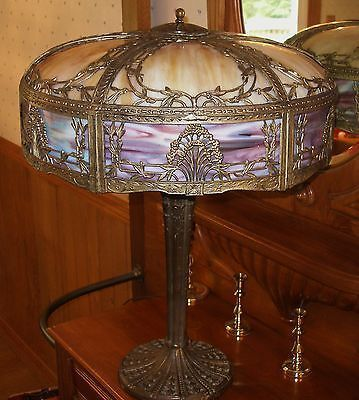 antique slag lamps | Antique Ornate LARGE 12 Panel Slag Glass Lamp ...