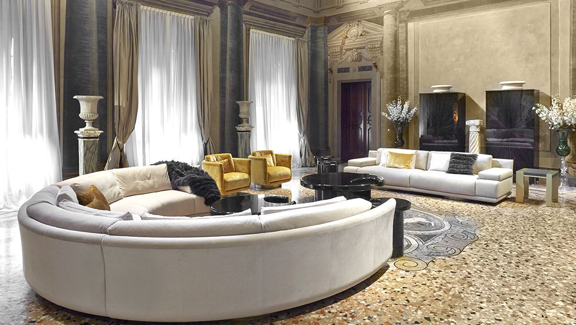 Artu Round Sectional Sofa New Living Room Leather