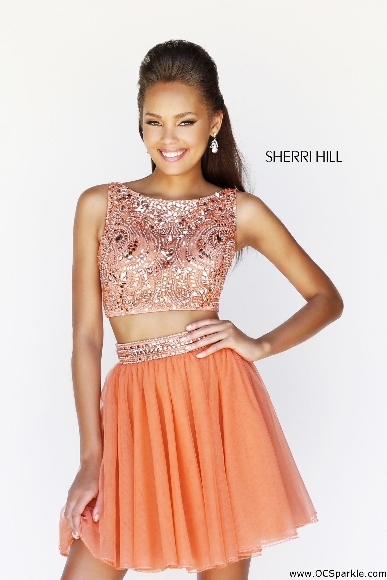 Stand out in this gorgeous orange mid drift homecomingcocktail