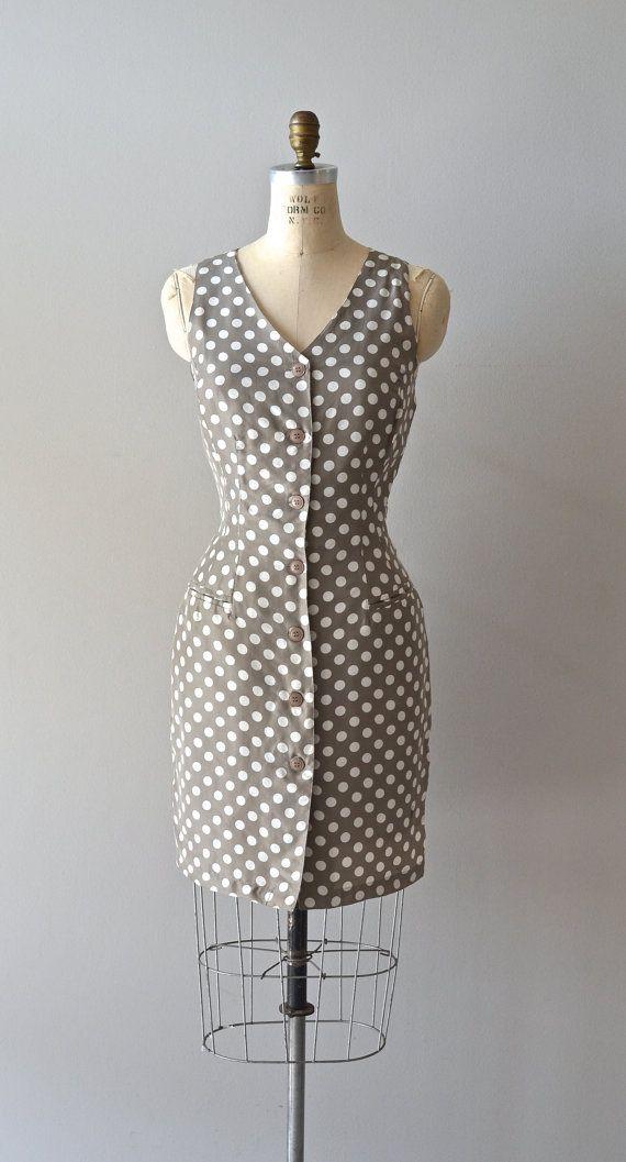 vintage polka dot dress / 1980s silk dress / Clay by DearGolden, $34.00