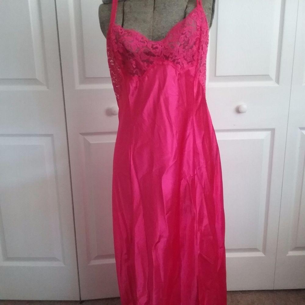 Victoria Secret Red Nightgown Sleepwear Sexy Silky Size XL Pink Lingerie #VictoriasSecret #Sexy #Sleepwear