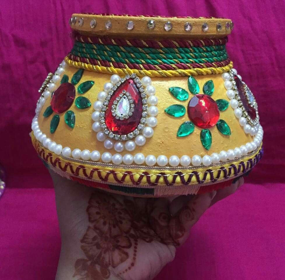 Pin by bindi patel on art and craft pinterest for Aarti dish decoration