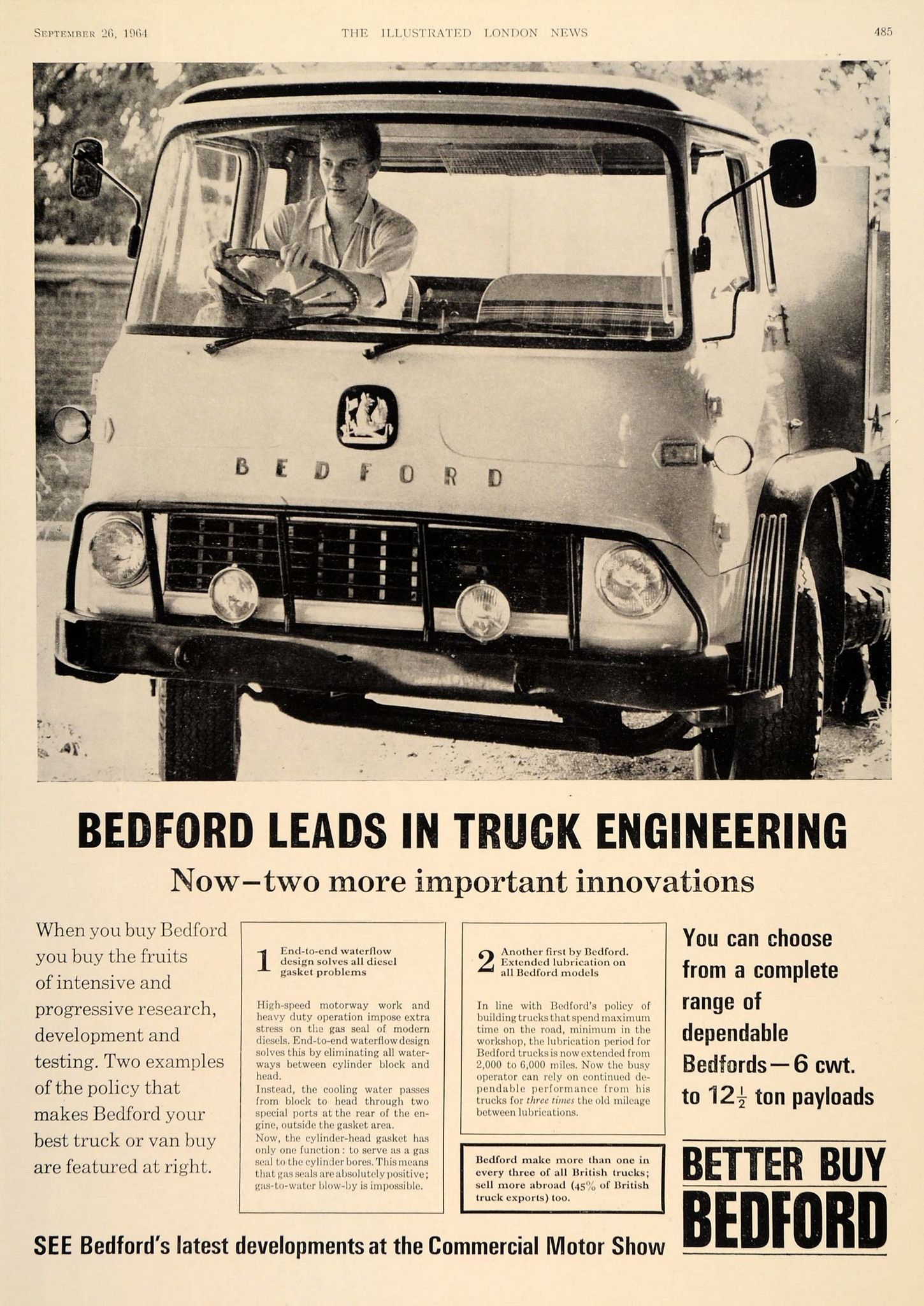 1964 Ad Bedford Truck Van British Commercial Vehicles - ORIGINAL  ADVERTISING LN1