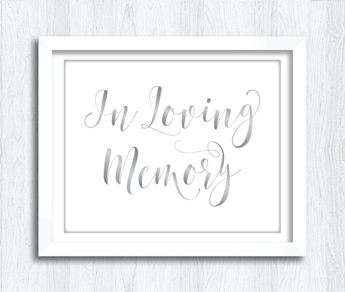 printable silver script in loving memory sign | instant download, Powerpoint templates