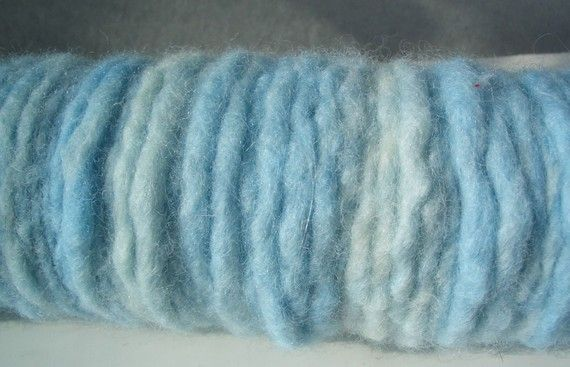 "MyMixMix on Etsy. ""Clouds of blue"" felted hand-dyed, hand-spun wool yarn, worsted to chunky weight."