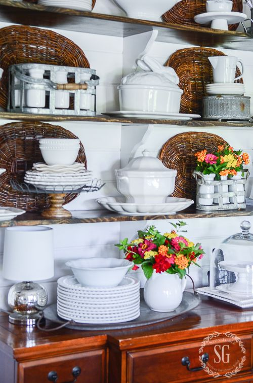 SUMMERY OPEN SHELVES DIY | Open shelving, Dining room ...