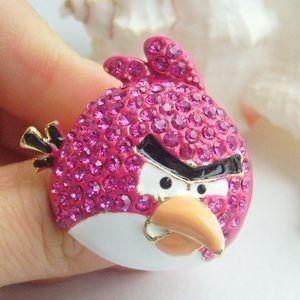 db42a831e2b80 Anel Angry Birds Pink Com Cristais Swarovski - R  39