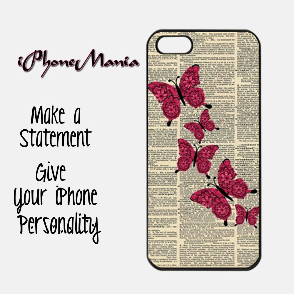 New iPhone 5 Case - Pink Butterflies Dictionary Art - iPhone 5 Case in durable Black or White Plastic. $12.99, via Etsy.