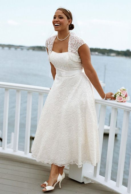 The Satin Waist Detail Flared Skirt And Semi Heart Shaped Neckline Paired With A Lace Bol Plus Size Wedding Gowns Tea Length Wedding Dress Tea Length Dresses,Dresses To Wear In A Wedding As Guest