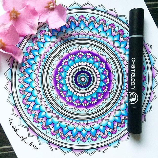 Stunning Mandala By Wish Of Hope Using Their Chameleon Pens Chameleonpens Pen Marker Alcoholmarkers Markerpen Mandala Art Flower Mandala Mandala Design