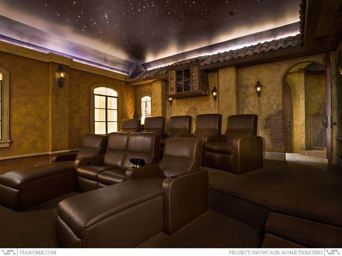 Residential home theater tuscan at home movie theater