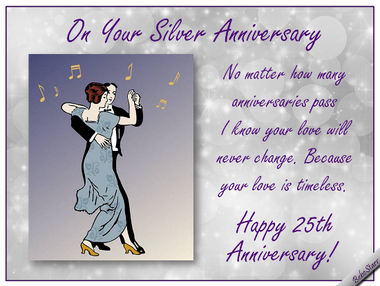 Free Online Silver Anniversary Wishes Ecards On