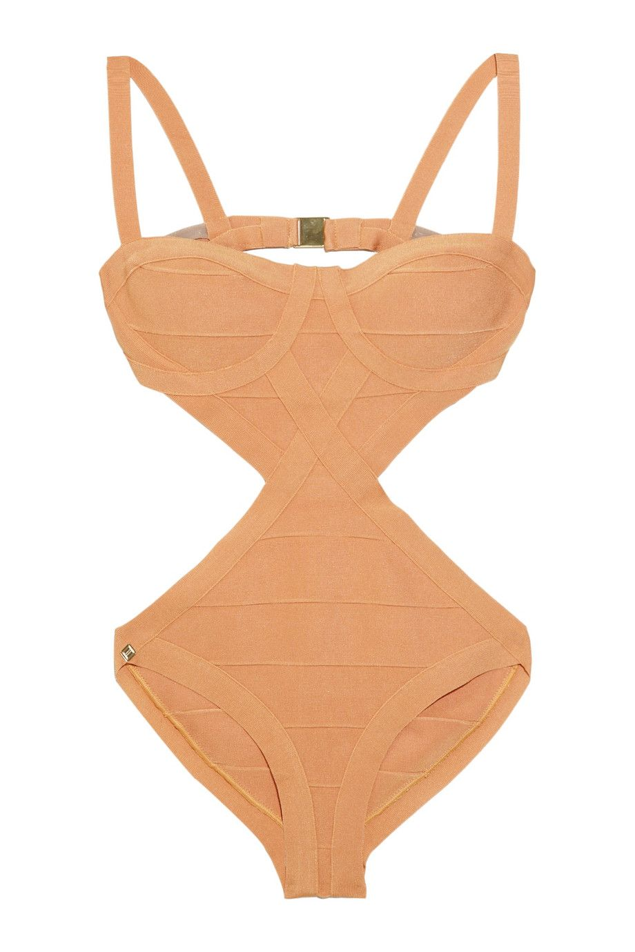 Hervé Léger Cutout bandage swimsuit - 50% Off Now at THE OUTNET
