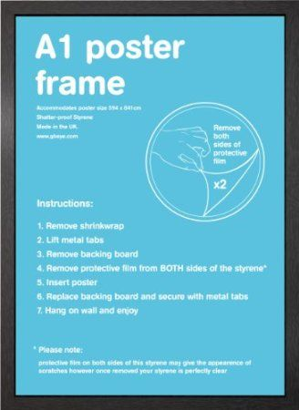 A1 Wooden Poster / Picture Frame 59.4 X 84.1cm (Black): Amazon.