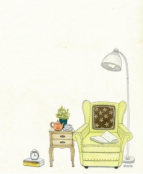 Sweet Little Reading Place Doodle Illustration Cute Drawings Book Art