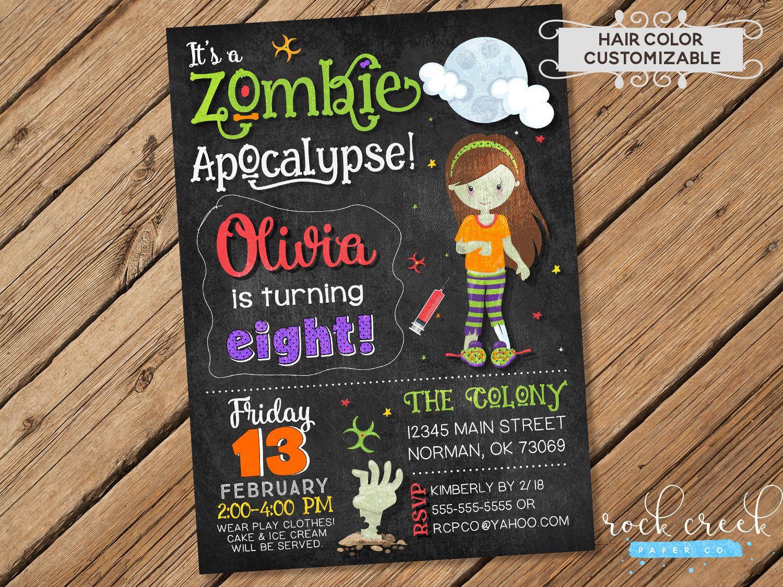 Zombie Apocalypse Invitation, Halloween Birthday invitation, Zombie ...