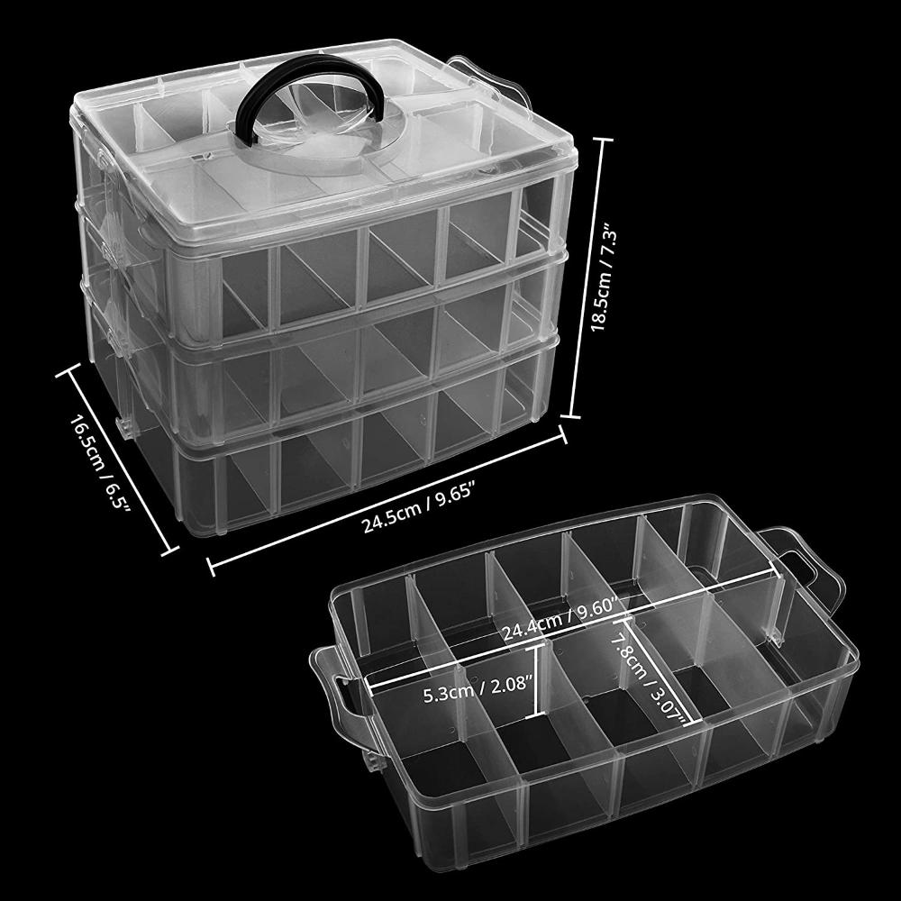 Kurtzy Boite De Rangement 3 Etages Empilable En Plastique Transparent Lot De 2 Compartiments Reglab Boite Plastique Plastique Transparent Boite De Rangement