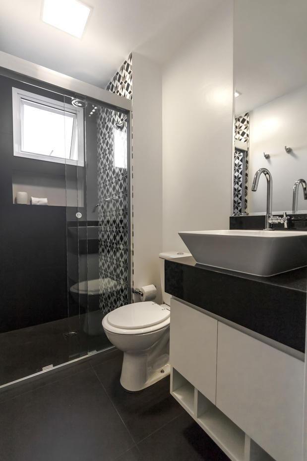 23 banheiro simples piso preto parede branca | Decoração ...
