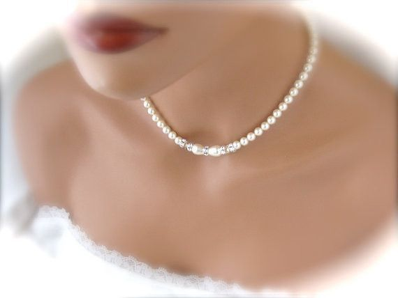 Elegant wedding jewelry set ivory pearl and crystal necklace