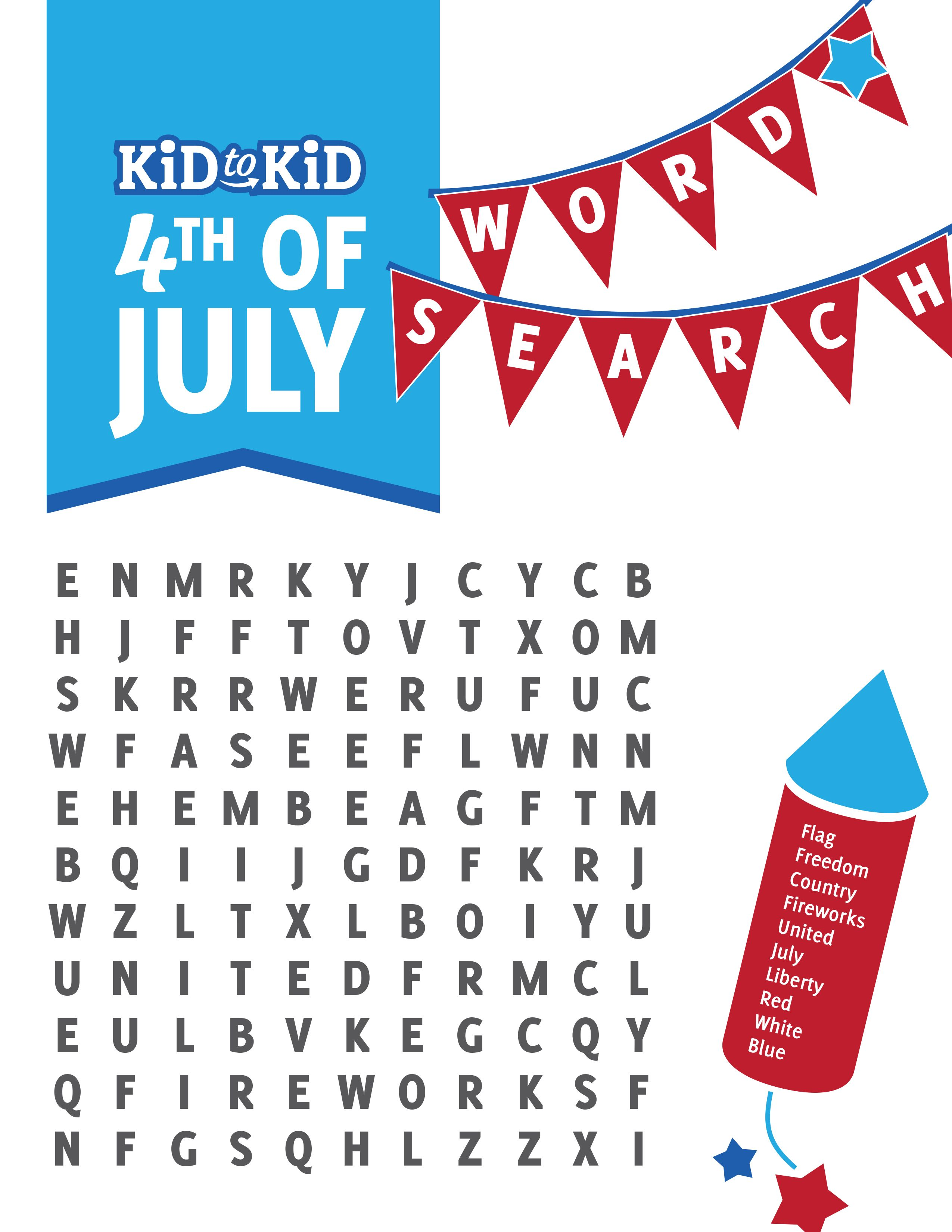 Fun 4th Of July Word Search With Images