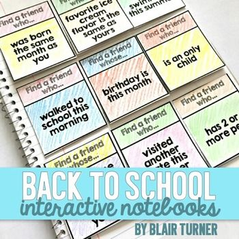 Back to School Interactive Notebooks by Blair Turner