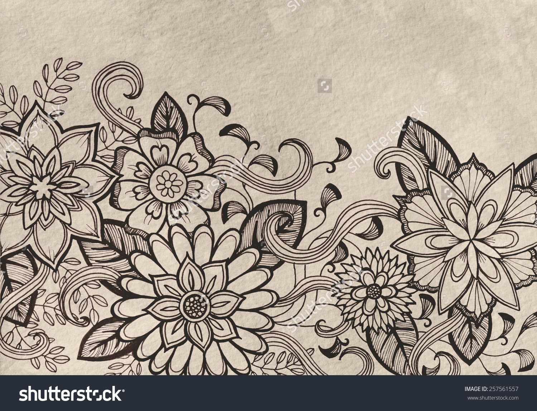 Line Art Flower Design : Stock photo hand drawn flower design sketch in black ink on brown