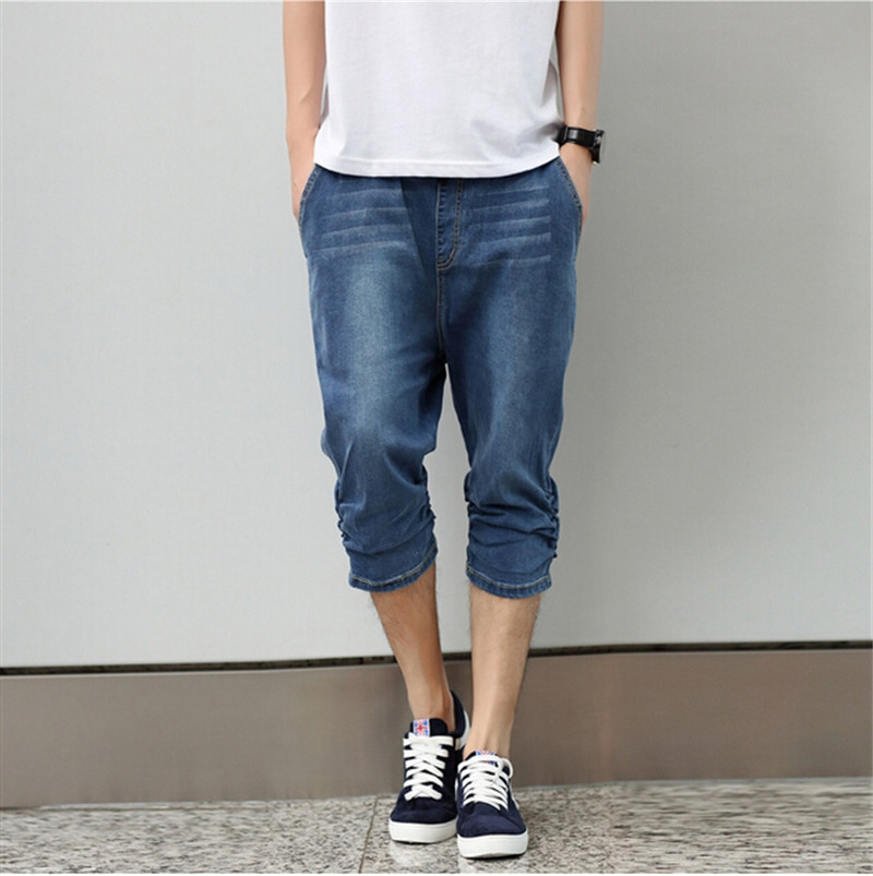 59.98$  Buy here - http://alinpa.worldwells.pw/go.php?t=32581133863 - Blue short jeans men hiphop large size 2015 designer jeans for boy skateboard hip hop jeans men's big size M-4XL pants summer