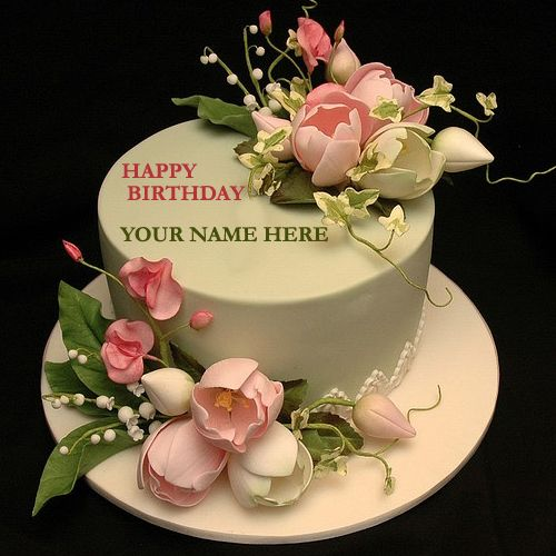 Write Your Name On Flower Decorated Cake With NamepicOnline Namepix FreeWrite Happy Birthday Online Free
