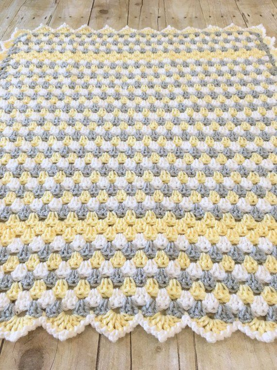 Gelbe Graue Decke Babydecke Hakeln Oma Square Gelbe Babydecke