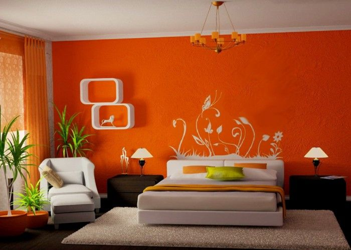 Enchanting Orange Bedroom Wall Paint Design Ideas Also White
