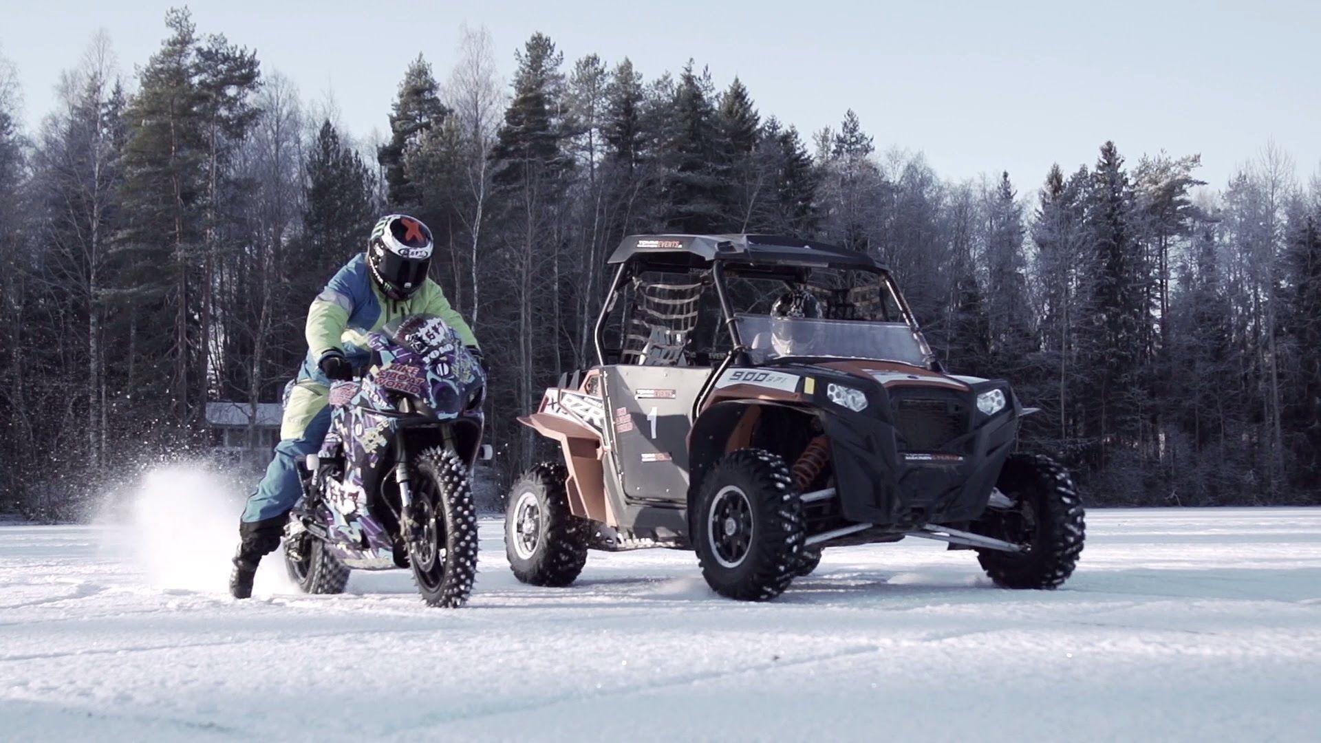 Drift Battle Bike Vs Buggy On Ice Motocross Videos Gsx