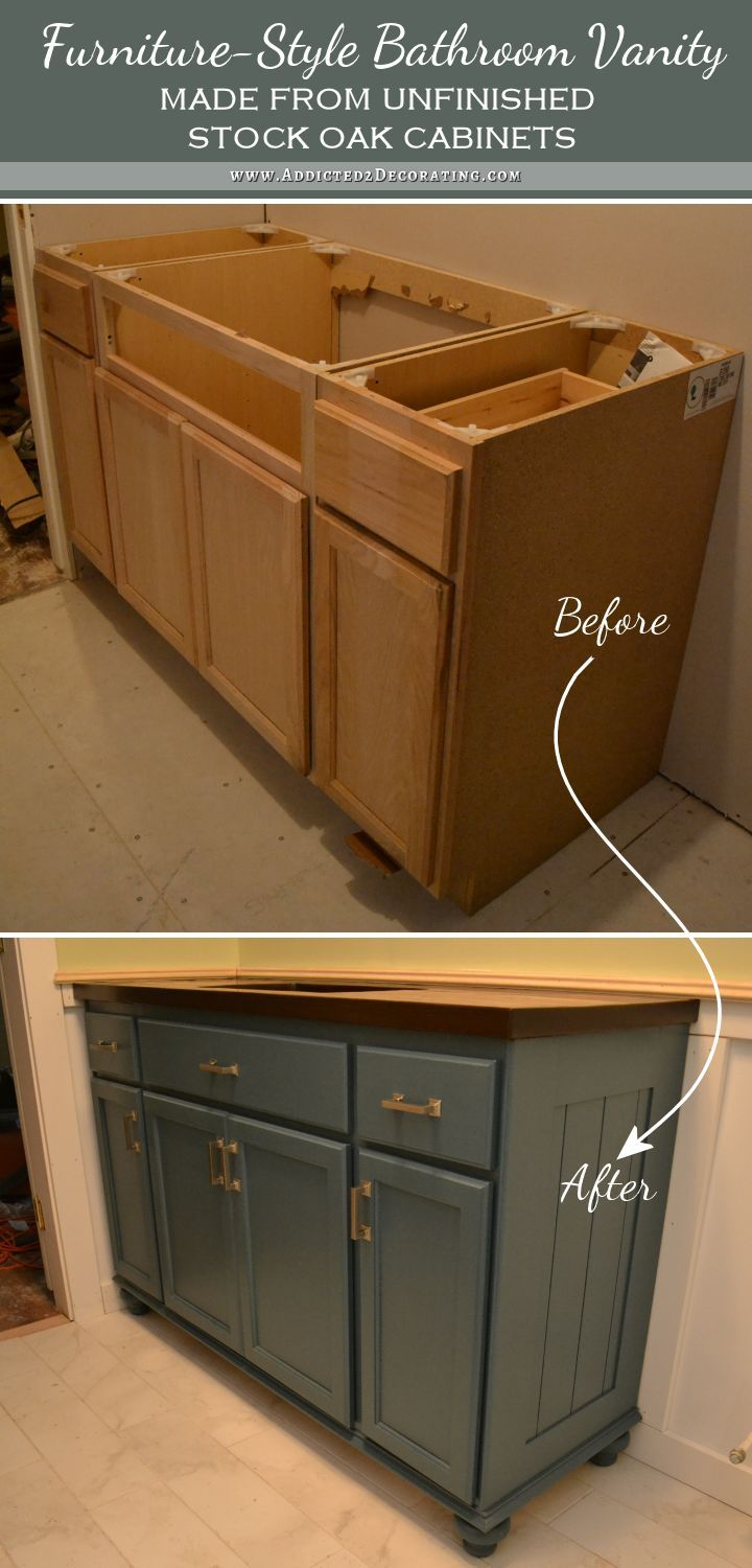 Bathroom Makeover Vanity teal furniture-style vanity made from stock cabinets – finished