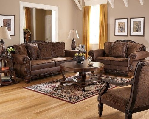 Truffle Traditional Sofa Set Old World Couch Wood Trim Cozy Fabric Living  Room | EBay