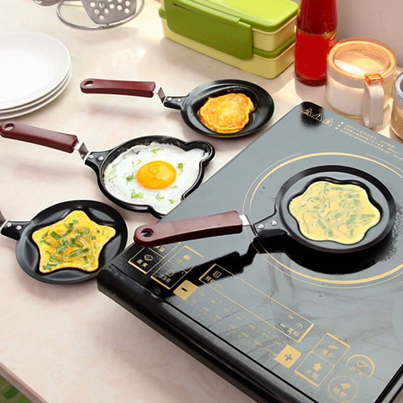 Home & Garden Egg & Pancake Rings Cute Shaped Egg Mould Pans Nonstick Stainless Mini Breakfast Egg Frying Pans Cooking Tools Steel Kitchen Accessoories