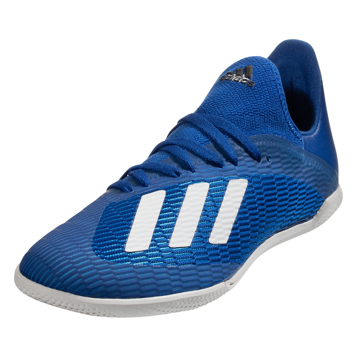 Adidas X 19 3 In Junior Indoor Soccer Shoes Royal Blue White Black 1 5 In 2020 Soccer Shoes Indoor Soccer Blue White