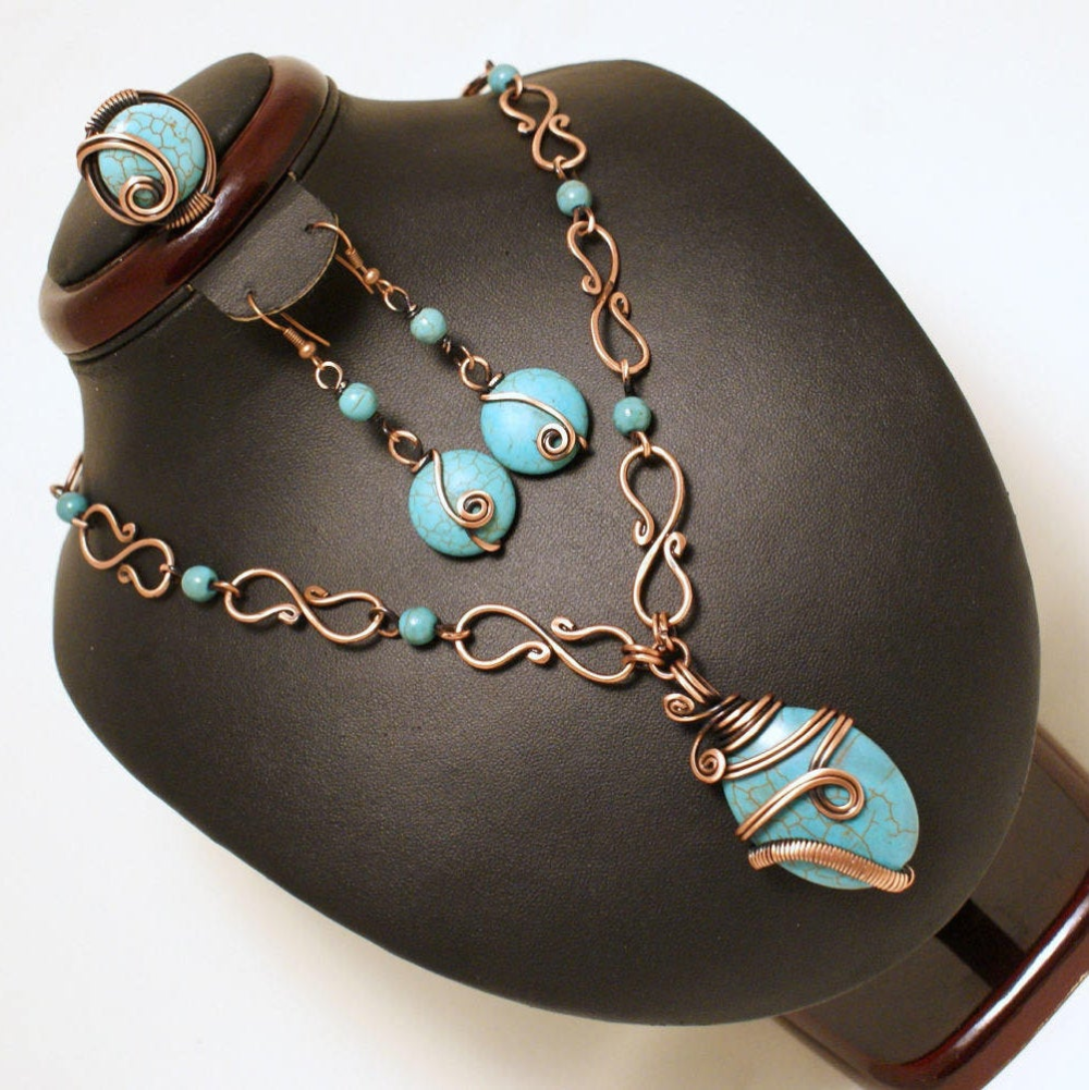 Photo of Turquoise Jewelry Set, Boho Turquoise Jewelry, 7th Anniversary Gift For Women, Wire Wrapped jewelry, Bohemian Turquoise and Copper Jewelry