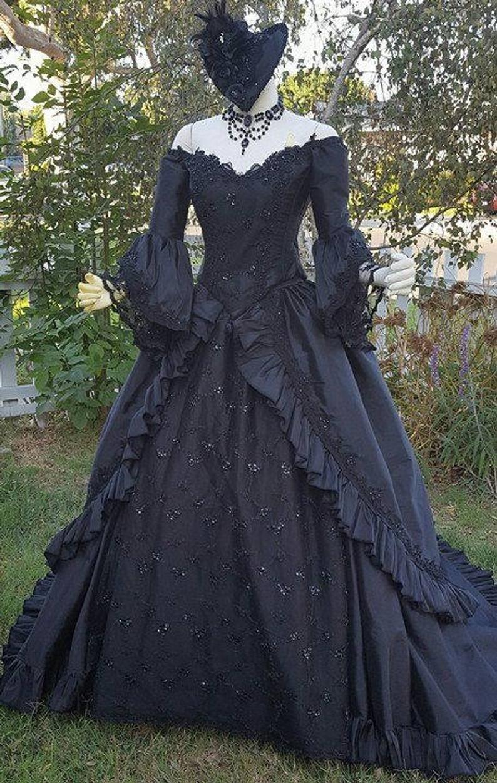 Black Marie Antoinette Victorian Gothic Ballgown Upscale Etsy Victorian Gown Gothic Dress Vintage Gowns [ 1251 x 794 Pixel ]