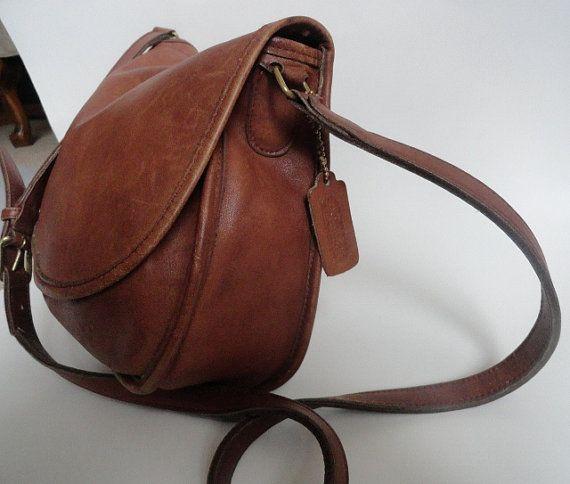 Vintage Coach Tan Leather Saddle Bag Purse Etsy Leather Saddle Bags Saddle Bag Purse Leather