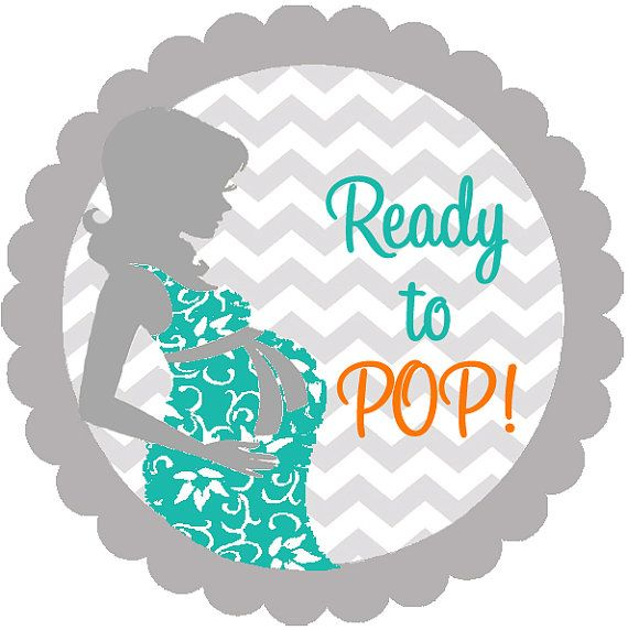 Baby shower chevron she is ready to pop personalized round labels stickers baby shower for About to pop labels