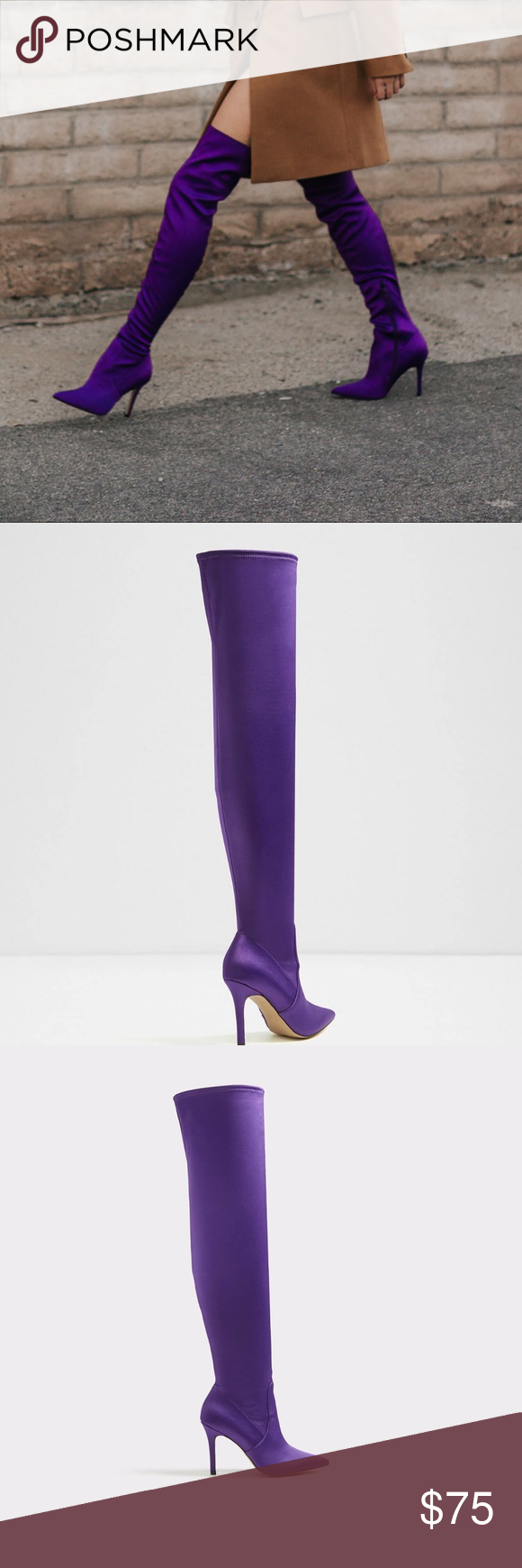 Purple thigh high | Thigh highs, Boots